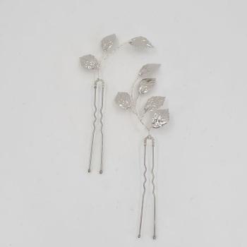 Pair of Silver Leaf Hair Pins