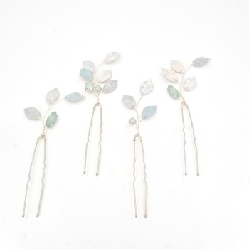 Set of Four Pastel Leaves Hair Pins