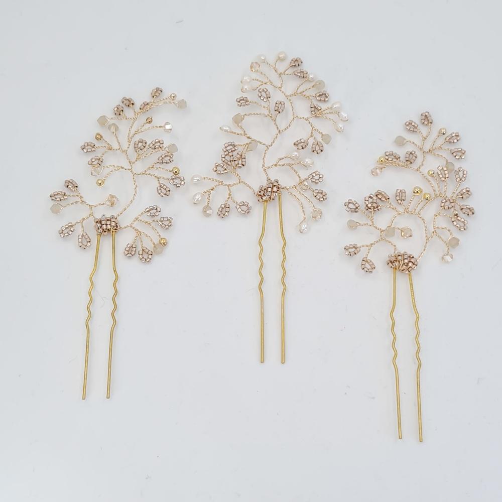 Trio of Gold Hair Pins