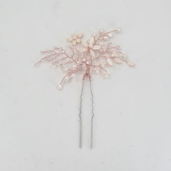 Rose Gold Mother of Pearl Flower Hair Pin