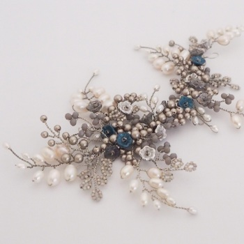 Winter Rose Headpiece in Antique Silver and Blue
