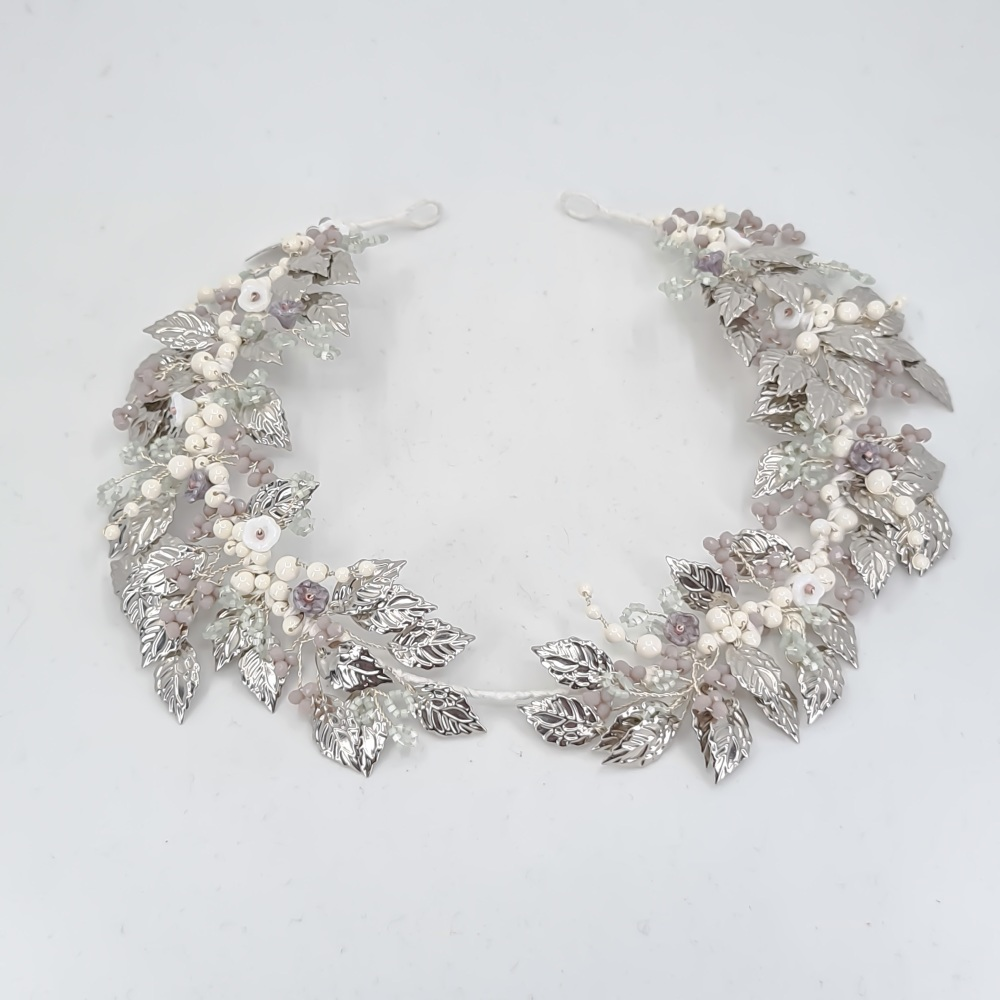Grecian Silver Leaves Headdress
