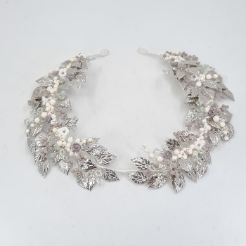 Grecian Silver Leaves Headdress