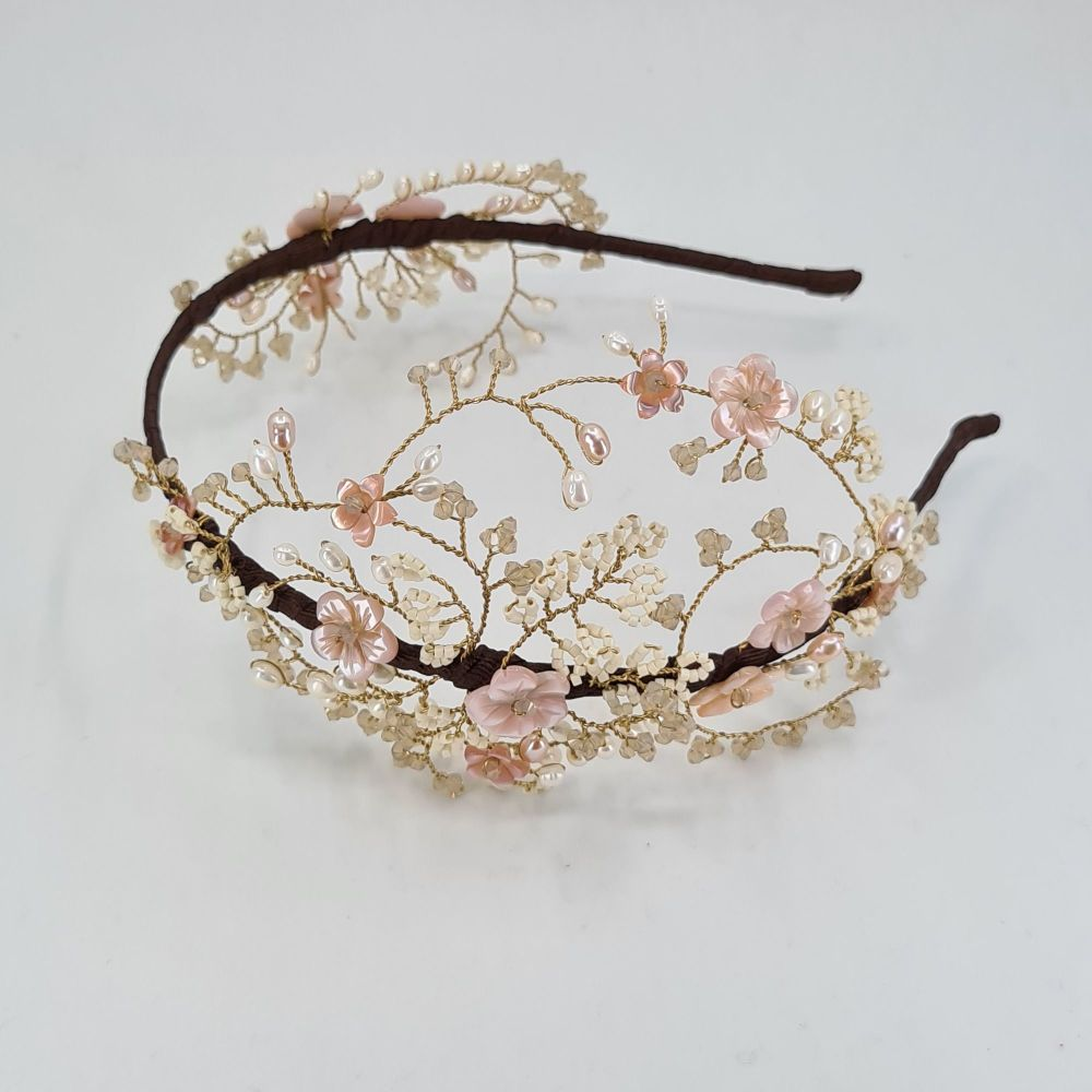 Intricate Blush Cherry Blossom Headdress