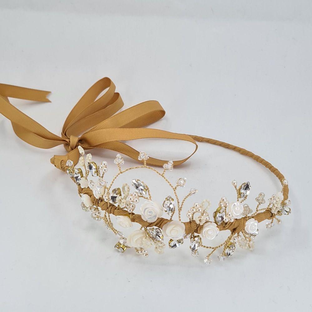 Ivory Rose and Diamante Side Headdress