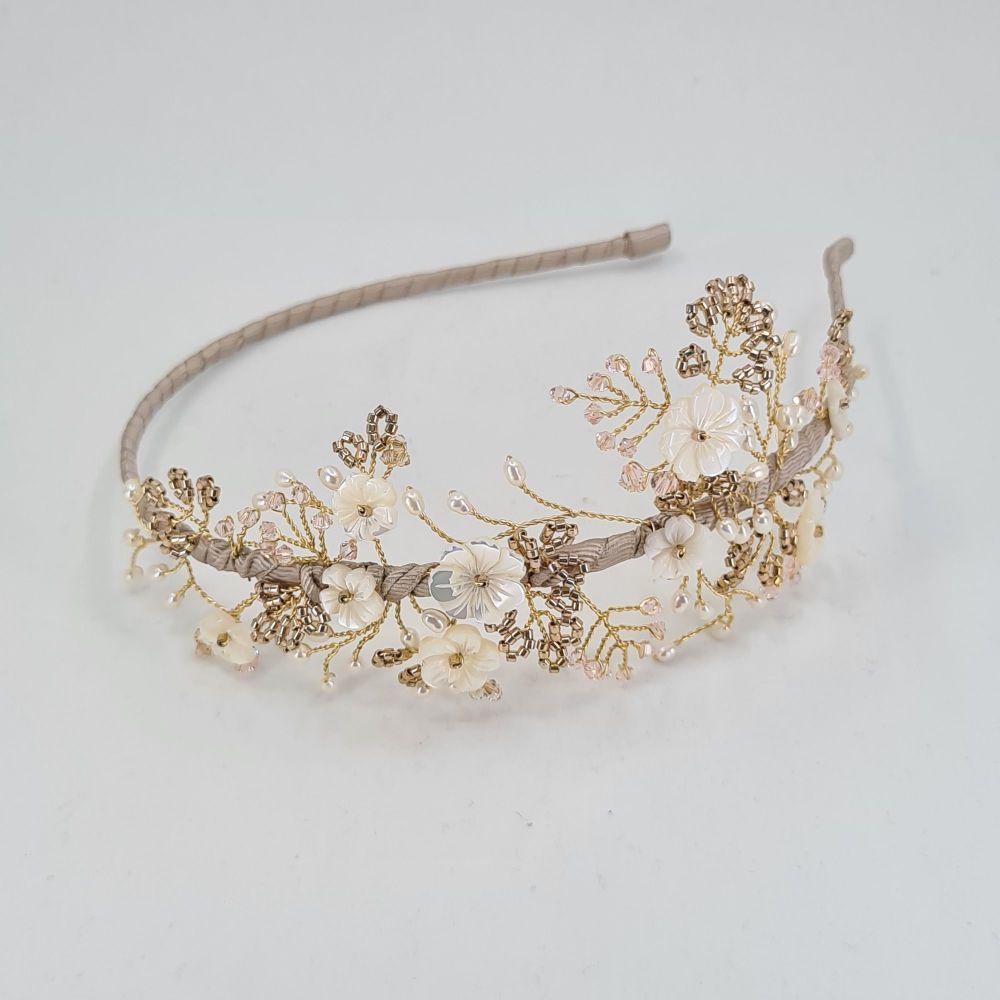 Cherry Blossom Blush and Gold Side Headdress