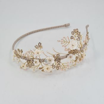 Cherry Blossom Blush and Gold Side Headdress