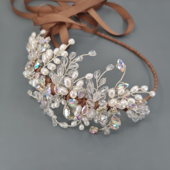 Statement Pearl and Crystal Side Headdress
