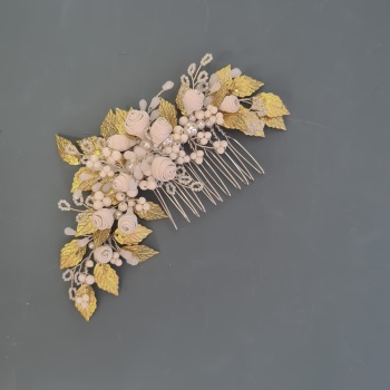 Porcelain Roses and Gold Leaf Hair Comb