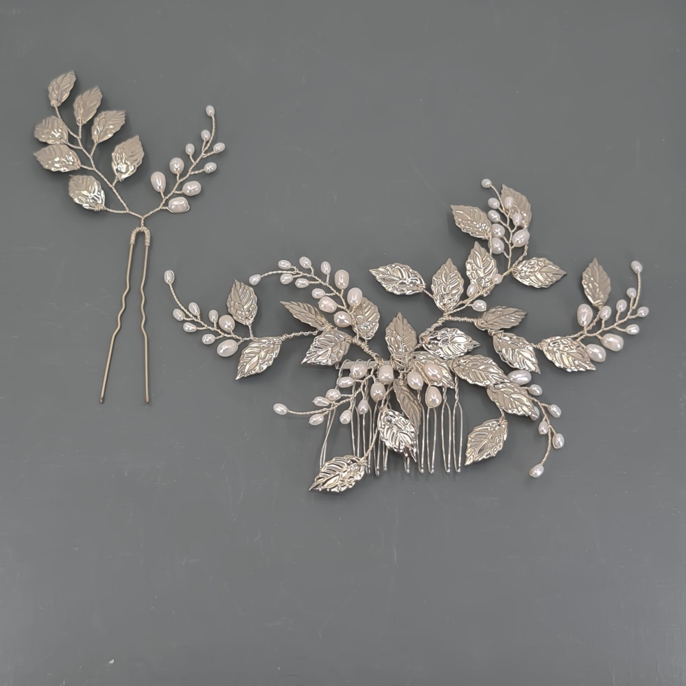 Silver Leaves and Freshwater Pearl Headpiece and Pin Set
