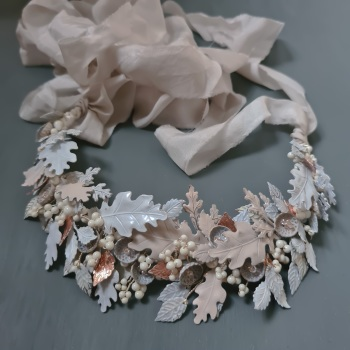 WINTER CROWN | White Oak Leaf and Acorn Wedding Crown