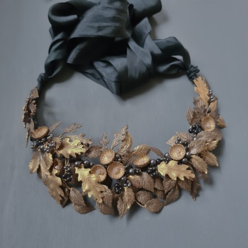 AUTUMN OAK | Autumnal Antique Gold Oak Leaf Bridal Crown