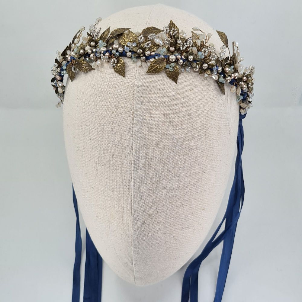 Blue Autumn Leaf bridal crown