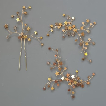 Celestial Stars Gold and Copper Headpiece and Hair Pin