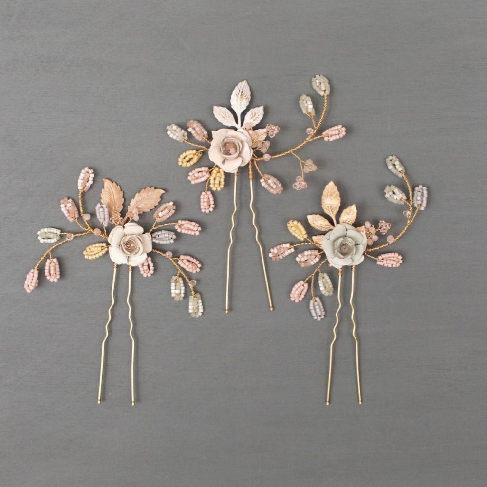 Wild Eve Rose Wedding Hair Pins