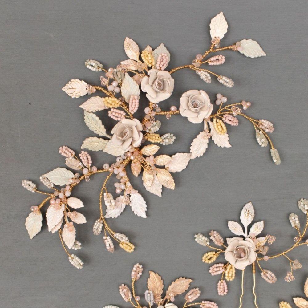 Wild Eve Rose Floral Bridal Headpiece