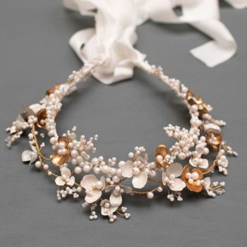 ANEMONE | Statement White and Gold Floral Bridal Crown