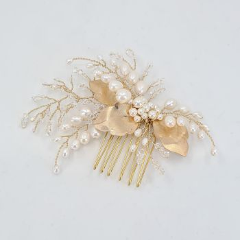 Small Gold Leaves and Freshwater Pearl Hair Comb