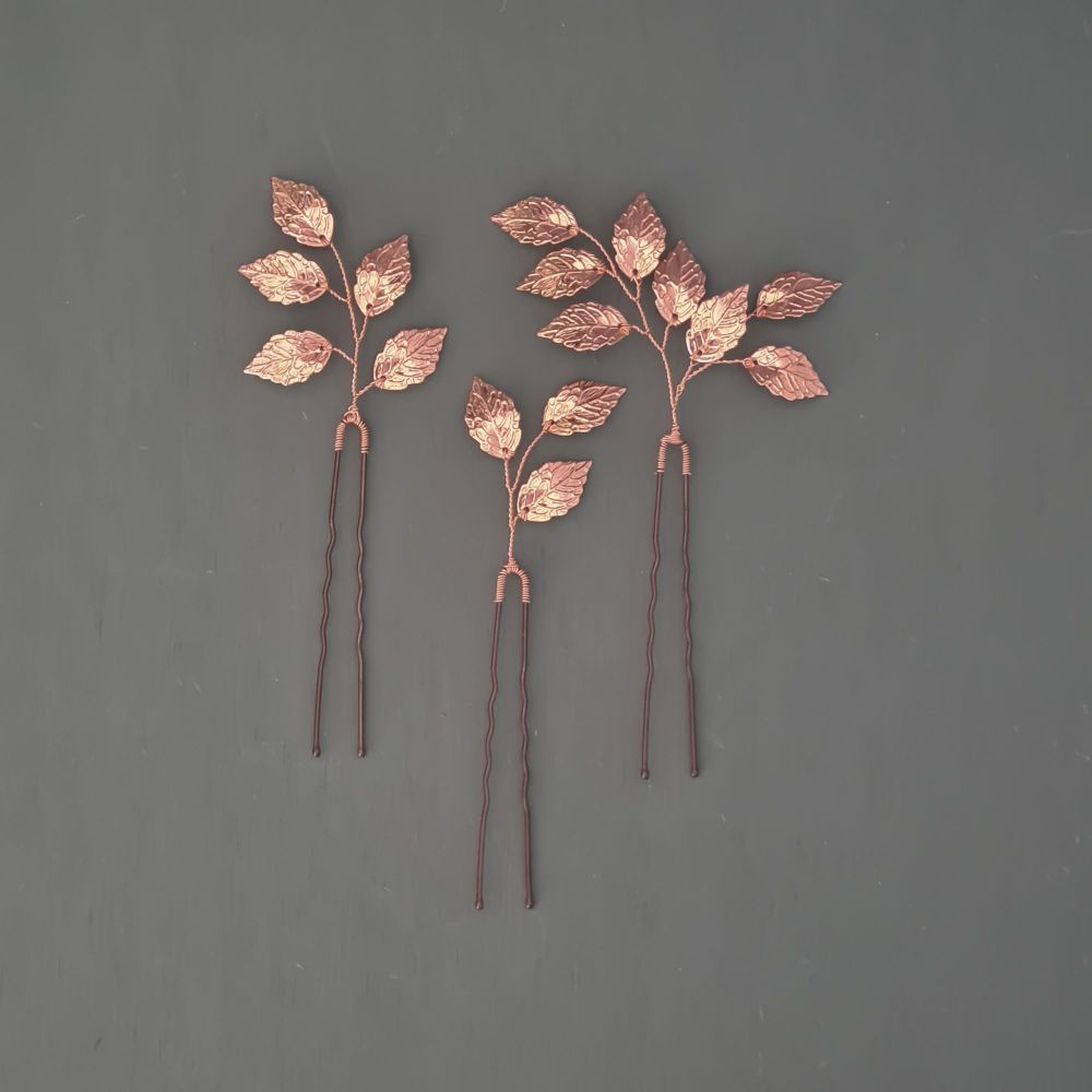 COPPER LEAVES | Simple Copper Leaves Wedding Hair Pins
