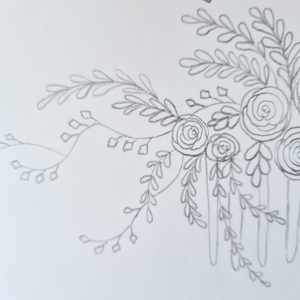 Hand drawings of bridal hair accessories by Clare Lloyd
