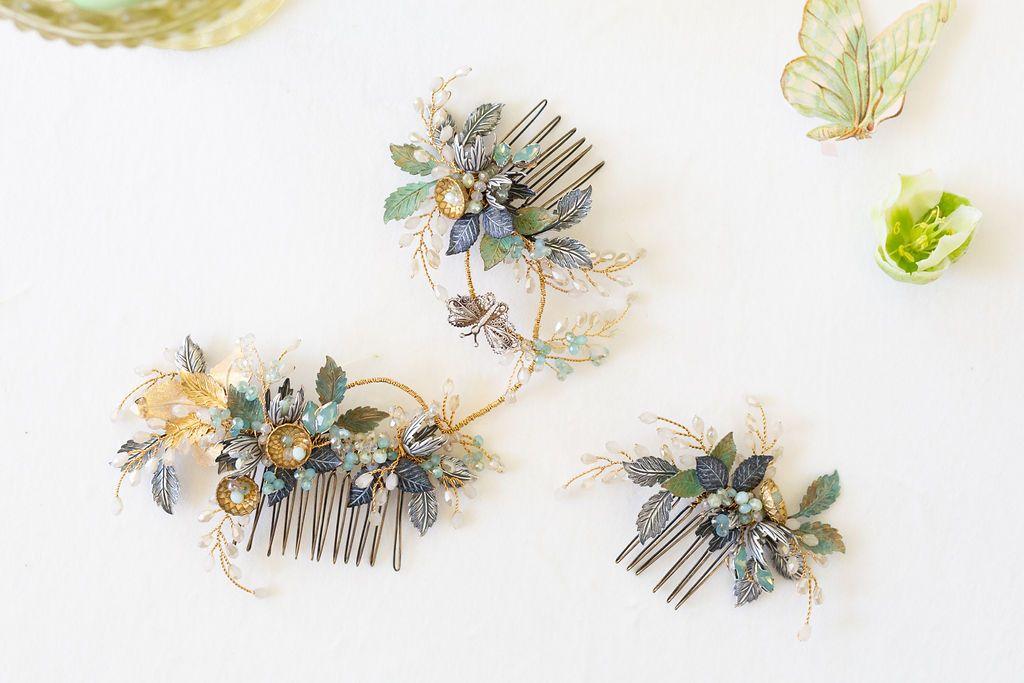 Aurelian wedding hair comb by Clare Lloyd