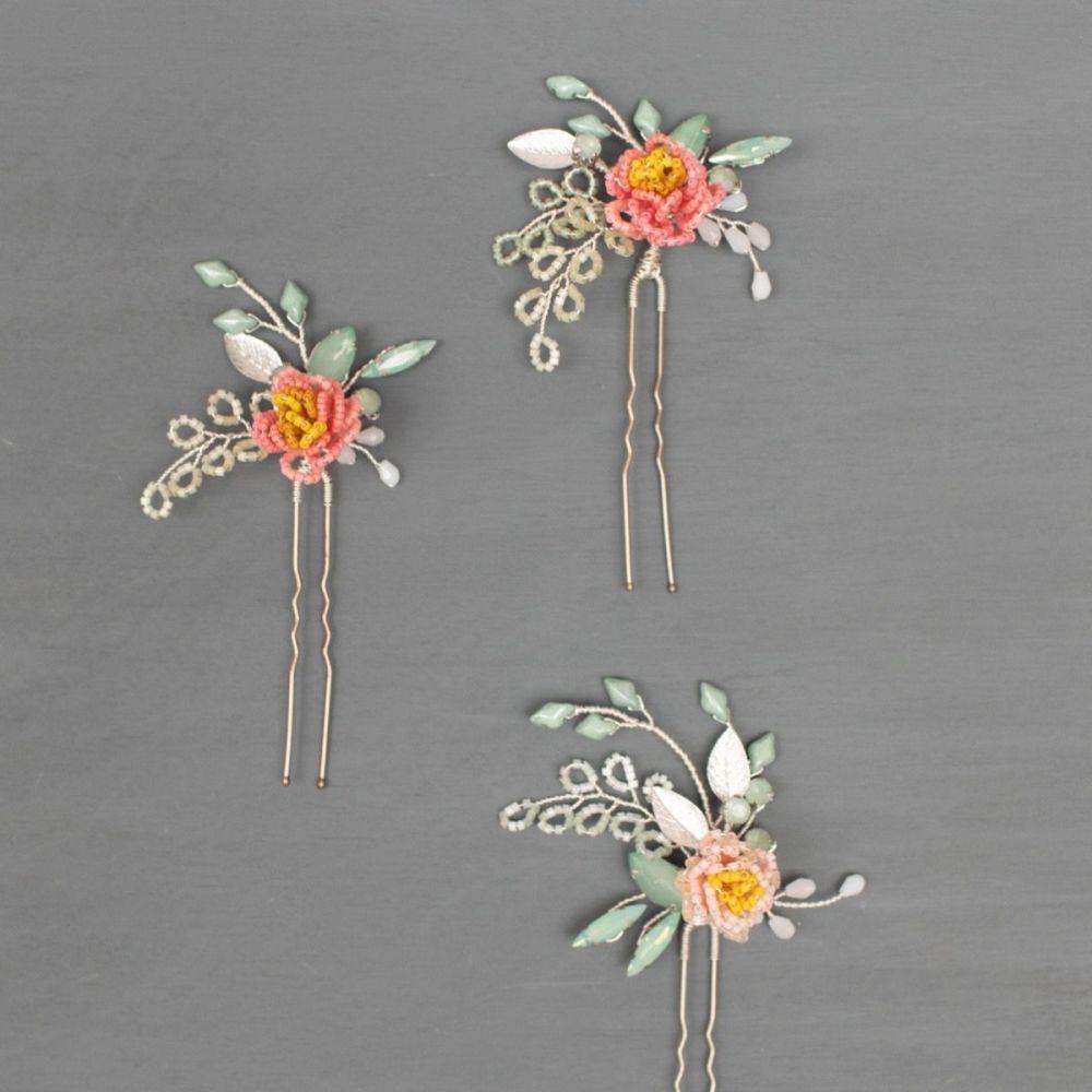 PEONY | Delicate Flower Bridal Hair Pins