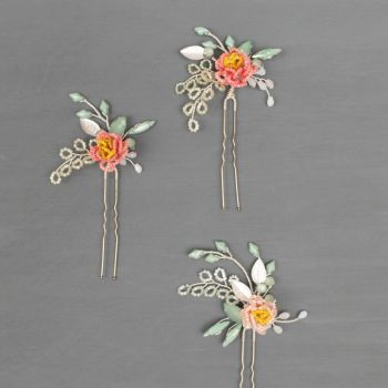 PEONY | Delicate Flower Bridal Hair Pins