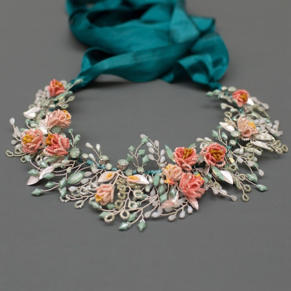 PEONY   Delicate Flower Statement Bridal Crown