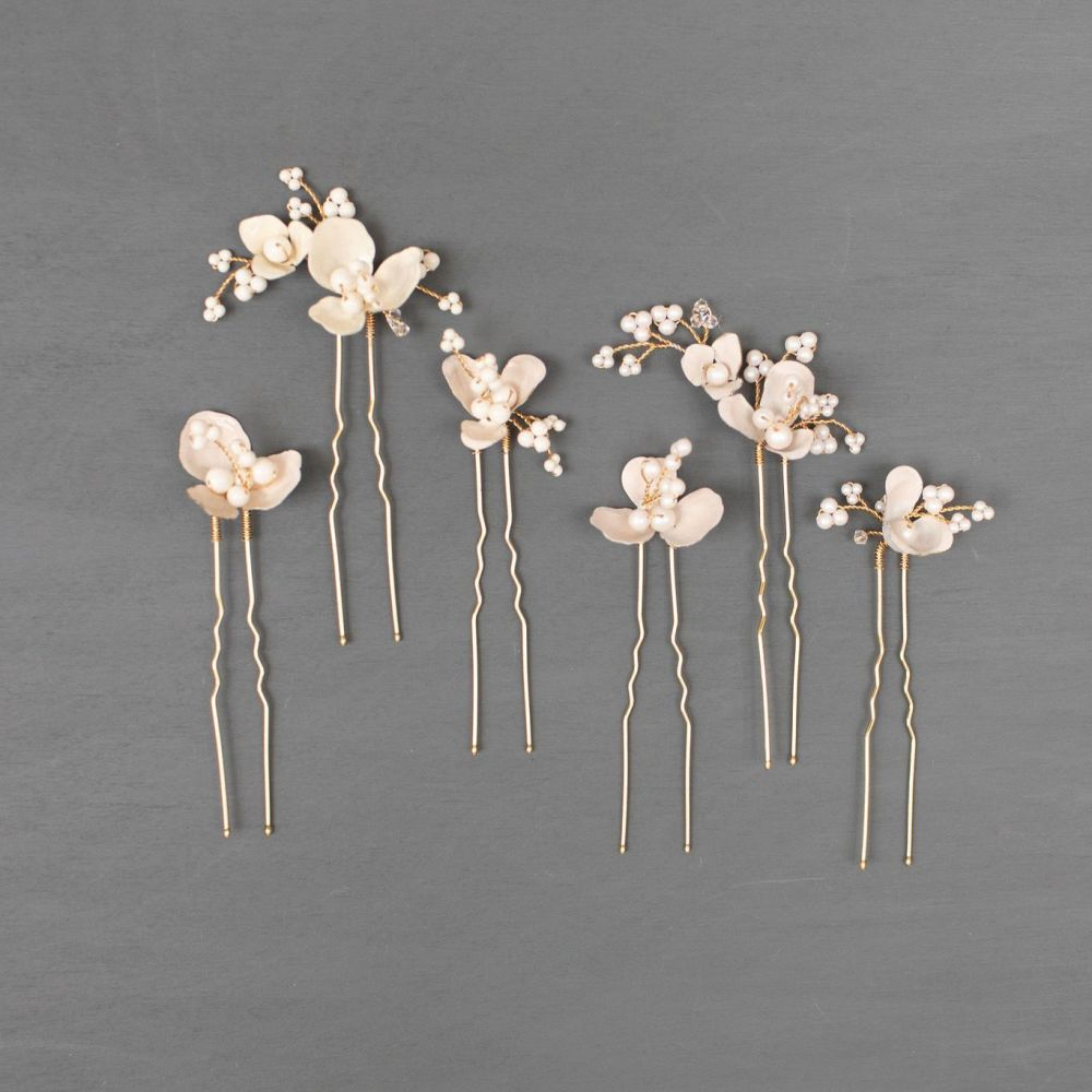 ANEMONE | Flower and Pearl Wedding Hair Pins