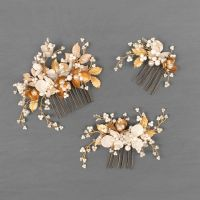 ANEMONE | Gold and White Floral Wedding Hair Combs