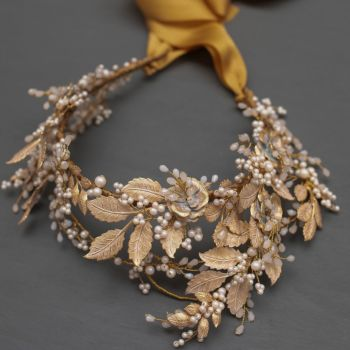 DESDEMONA | Statement Pale Gold and White Bridal Headdress