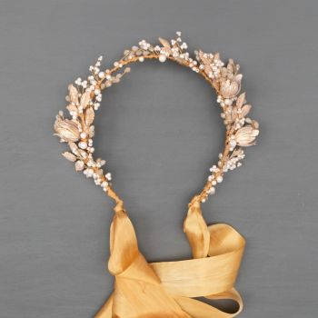 HARLOW | Pale Gold and Champagne wedding Headdress