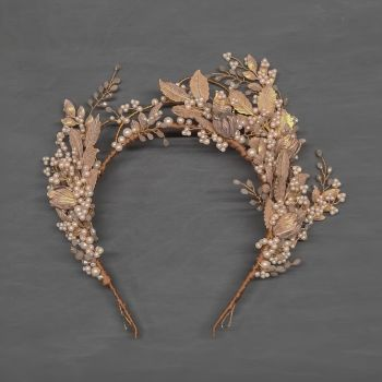 HARLOW | Statement Pale Gold and Champagne Opal Bridal Headdress