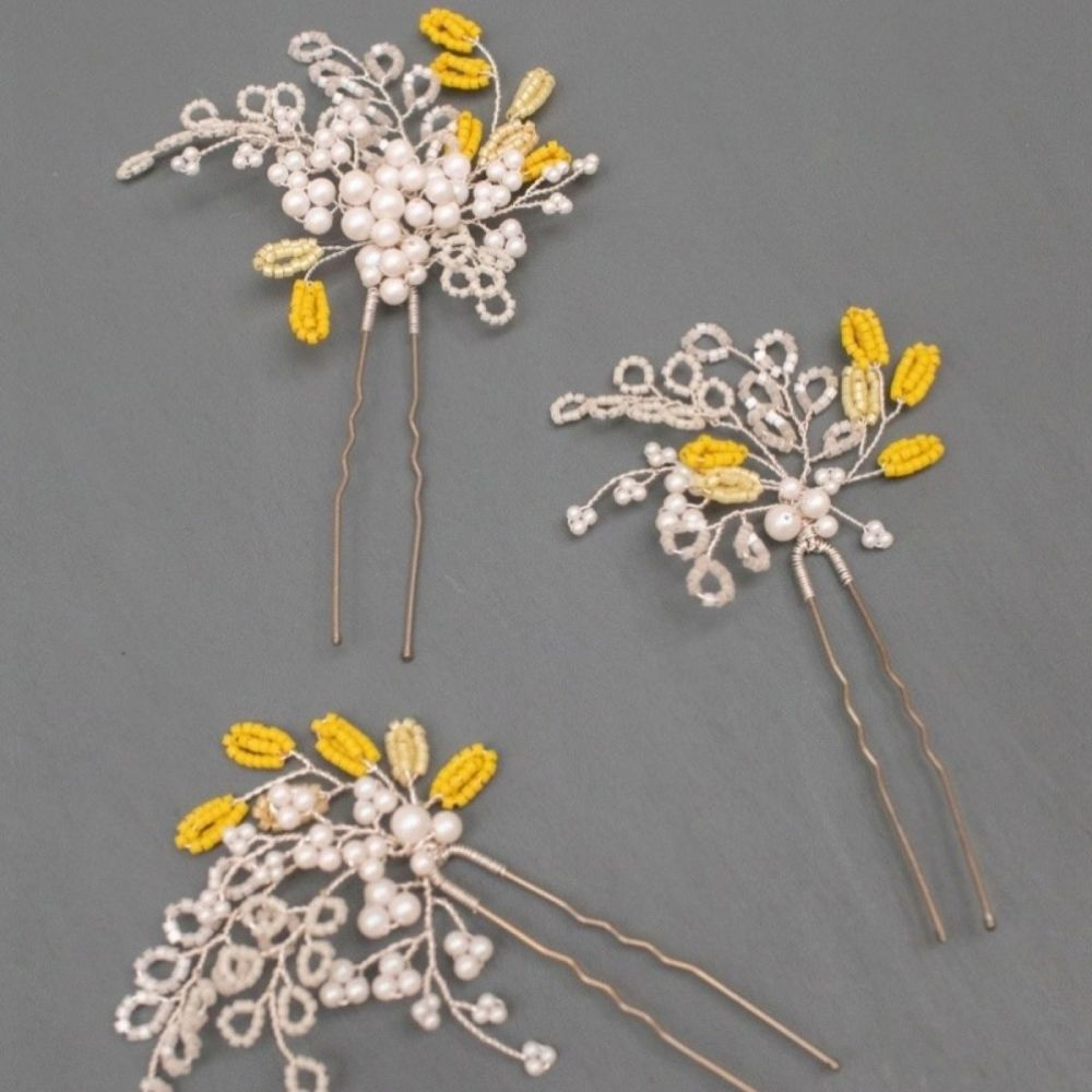 JESSAMINE | Delicate Yellow and White Floral Wedding Hair Pin Set
