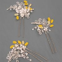 JESSAMINE   Delicate Yellow and White Floral Wedding Hair Pin Set