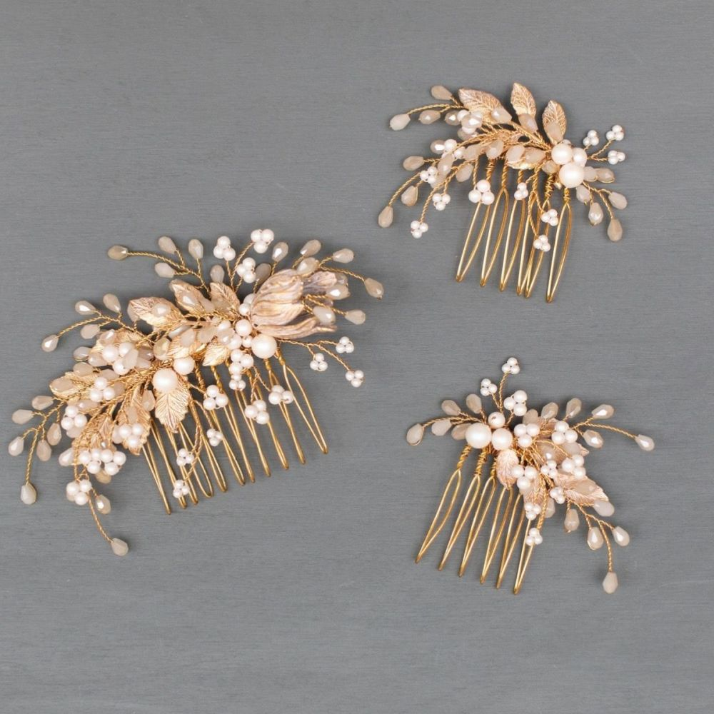 HARLOW | Pale Gold and Champagne Opal Wedding Hair Combs