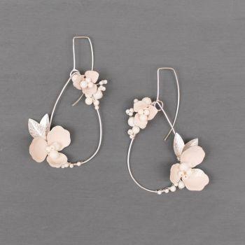 ANEMONE | Sterling Silver White Enamel flower Teardrop Statement Earrings