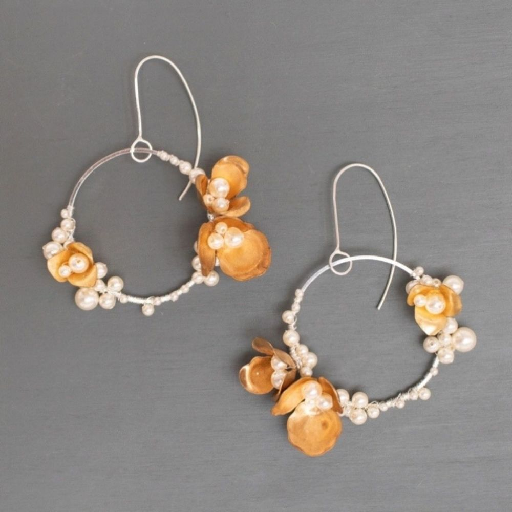 ANEMONE | Sterling Silver, Gold Flower and Pearl Hoop Earrings