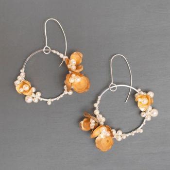 ANEMONE | Sterling Silver, Gold Flower and Pearl Hoop Earrings