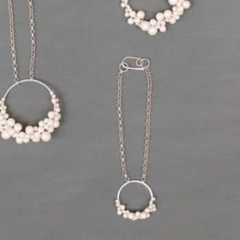 HARLOW | Sterling silver and pearl circle bracelet
