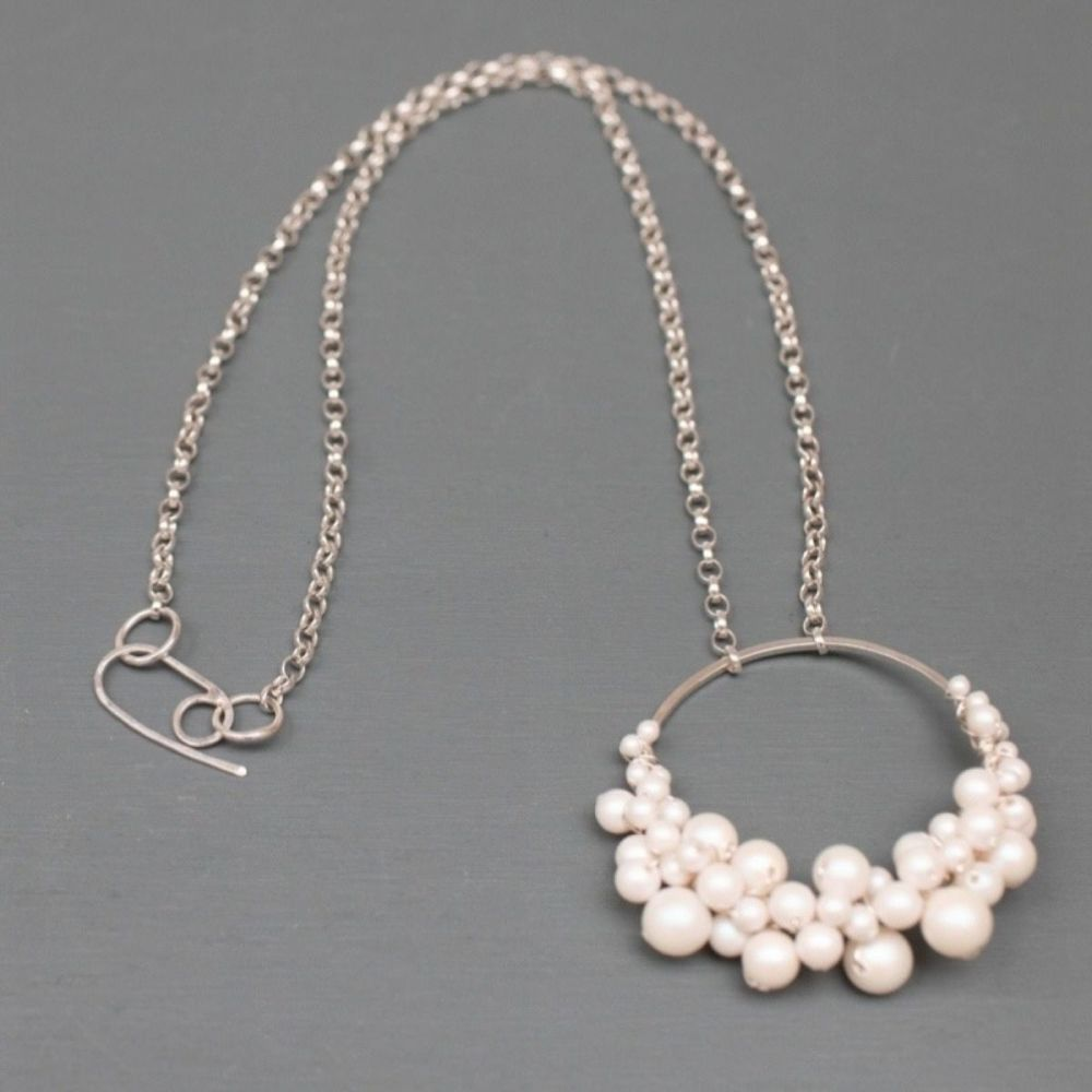 HARLOW | Sterling silver and pearl circle necklace