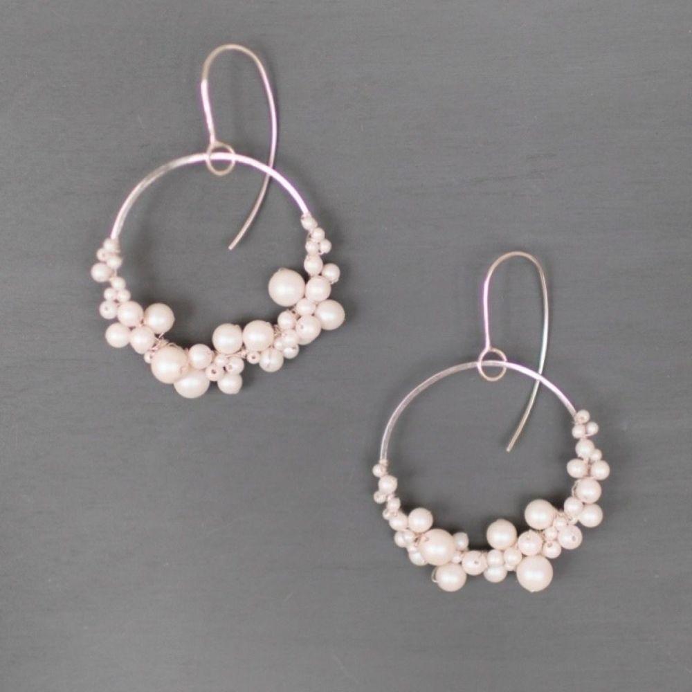HARLOW | Sterling silver and pearl statement hoop earrings
