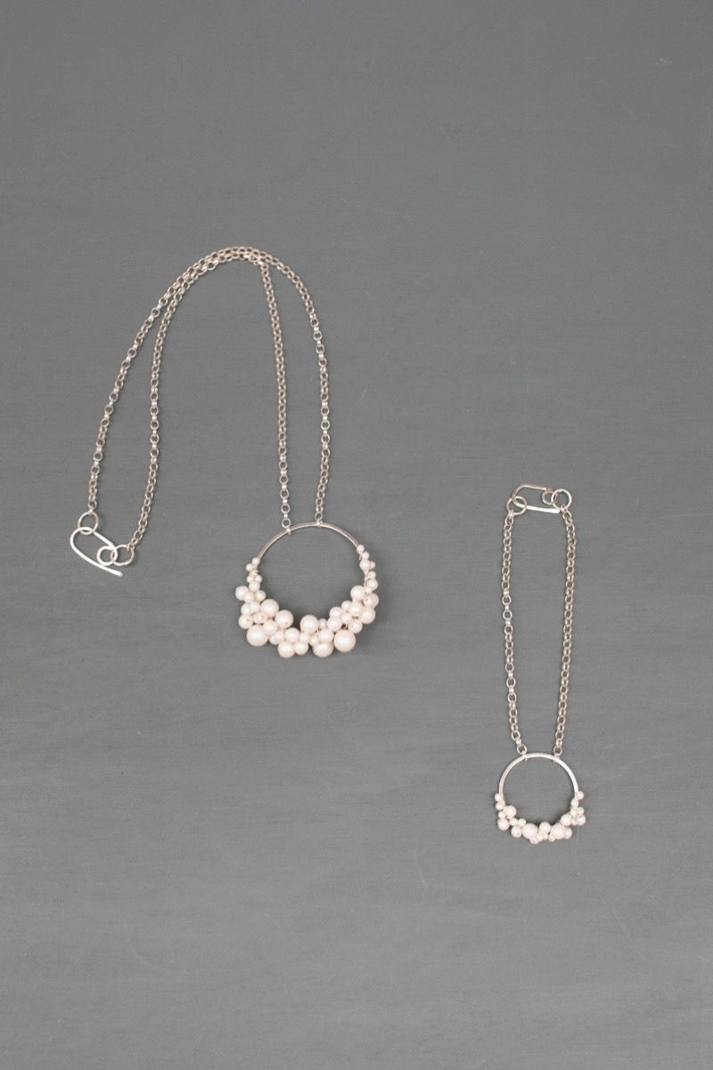 Delicate silver and pearl bridal jewellery