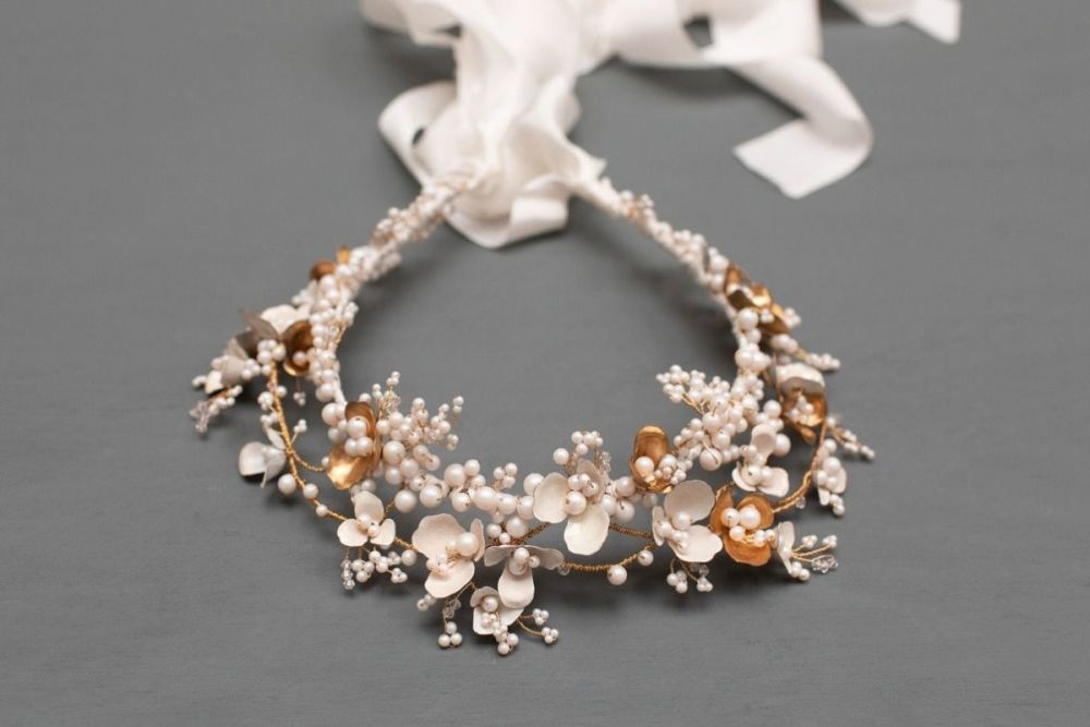 Anemone white and gold statement bridal crown