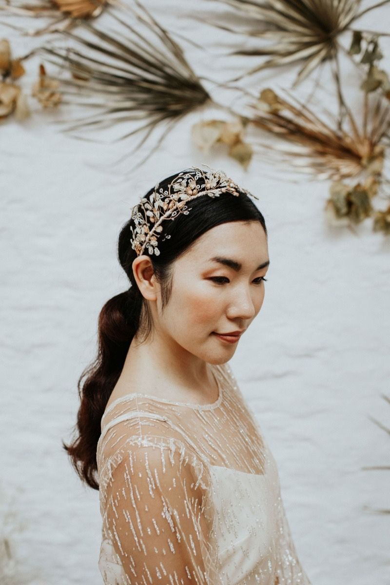 Fawn gold and pale peach bridal crown