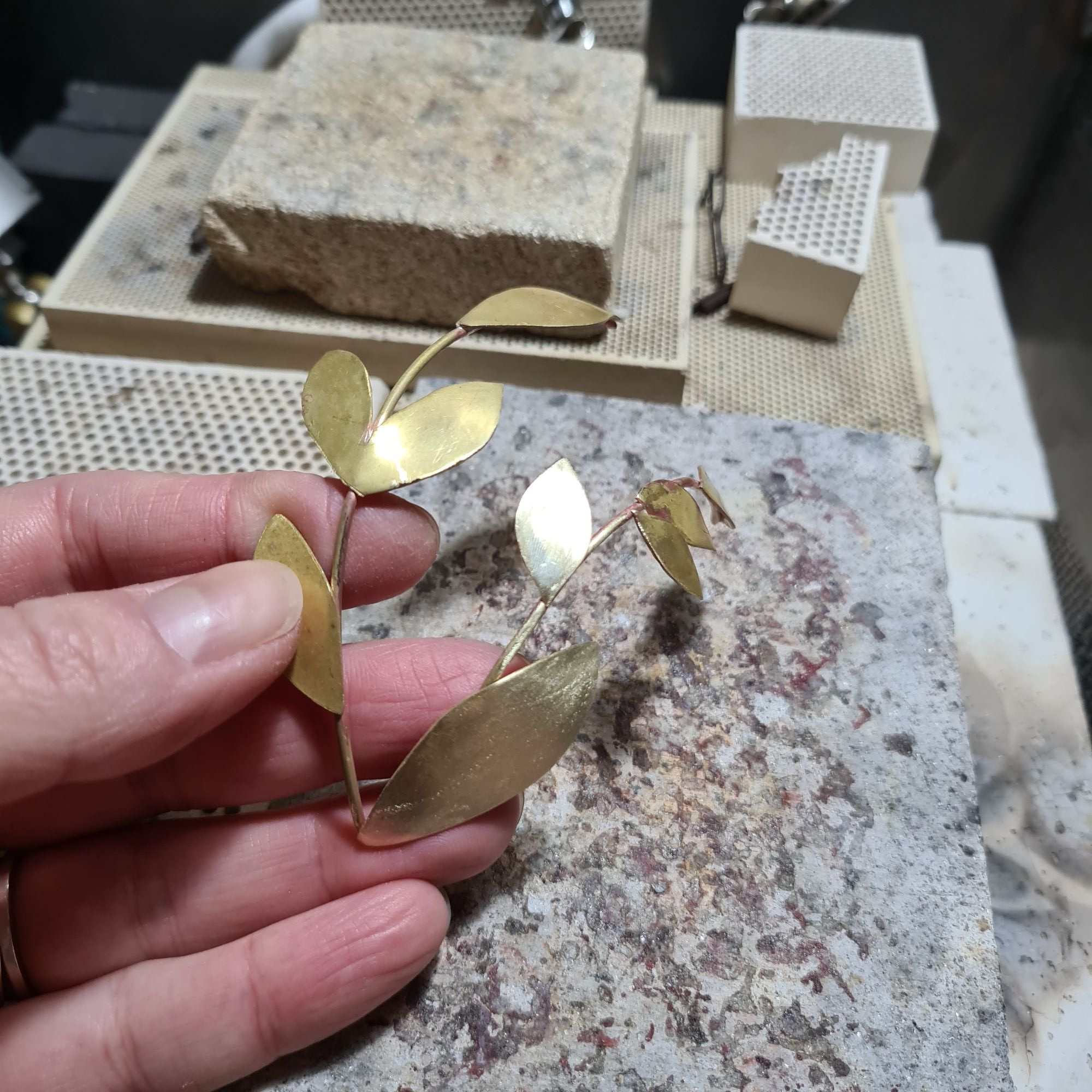 Making a recycled brass leaf bridal headpiece