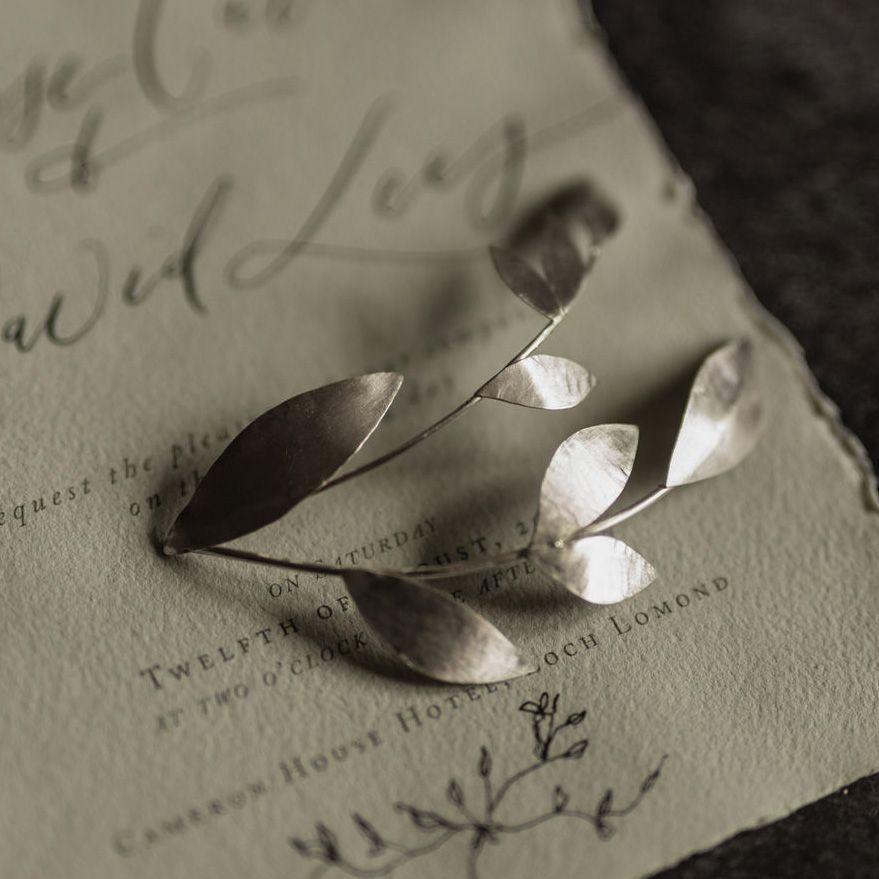 MILLEFOLIA   Precious Metal Olive Leaves Small Wedding Headpiece