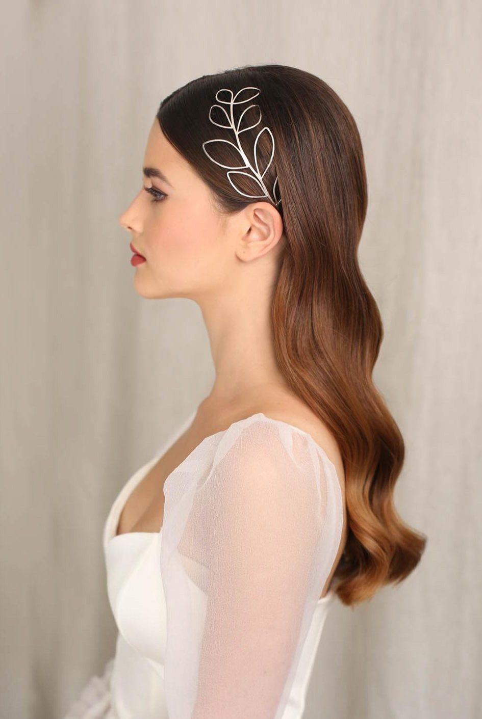Long Bridal hair created by Kasia Fortuna with silver Sylvestris headpiece