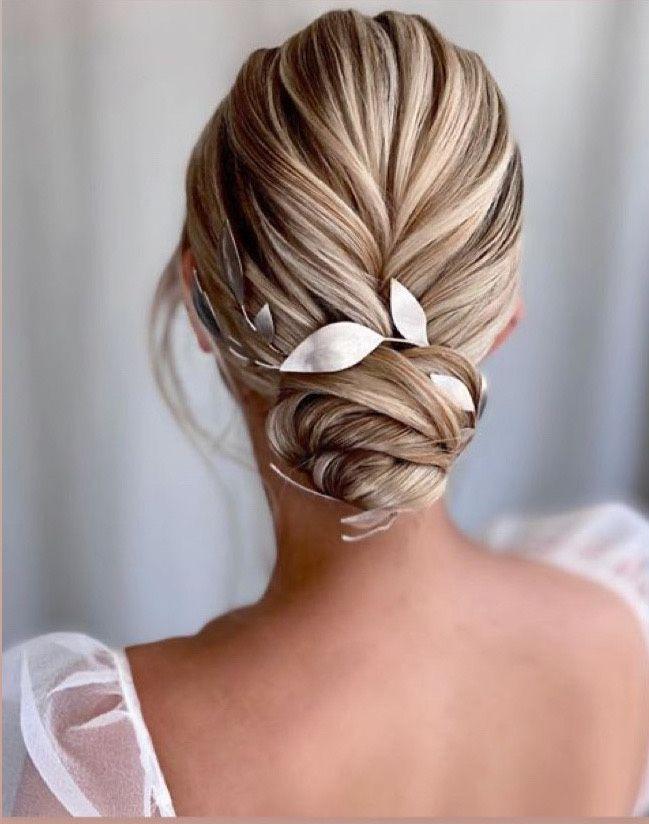 Kasia Fortuna stylist low bridal bun silver Millefolia headpiece