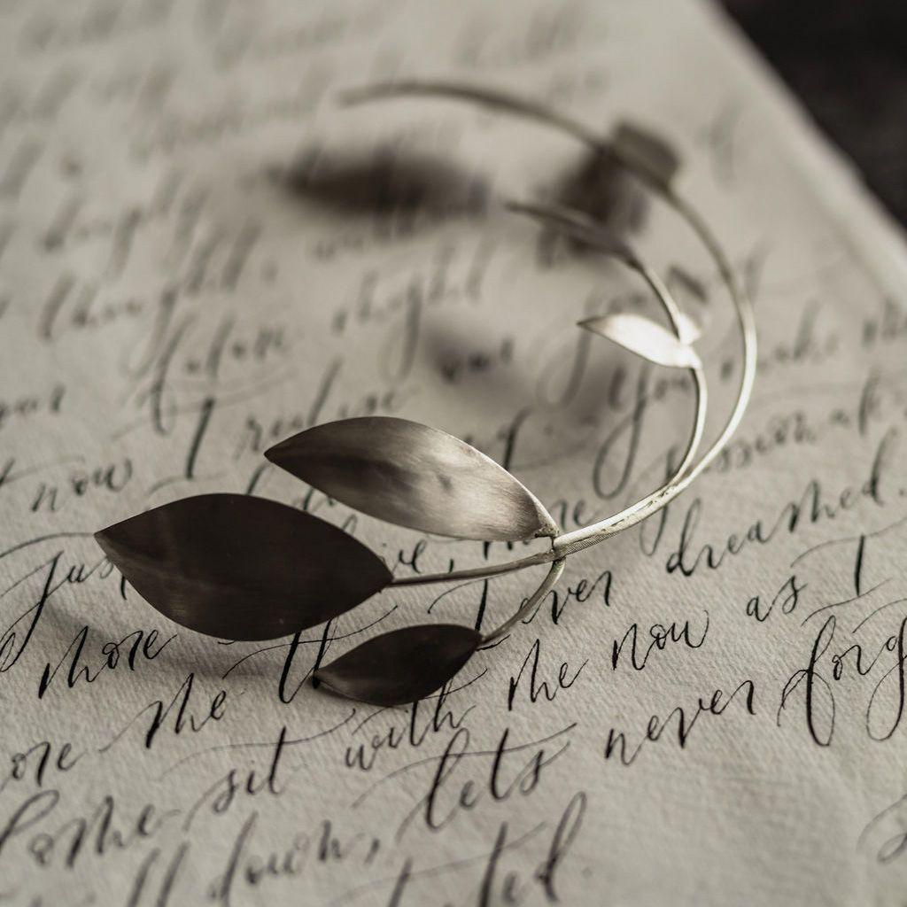 MILLEFOLIA | Precious Metal Olive Leaves Large Wedding Headpiece
